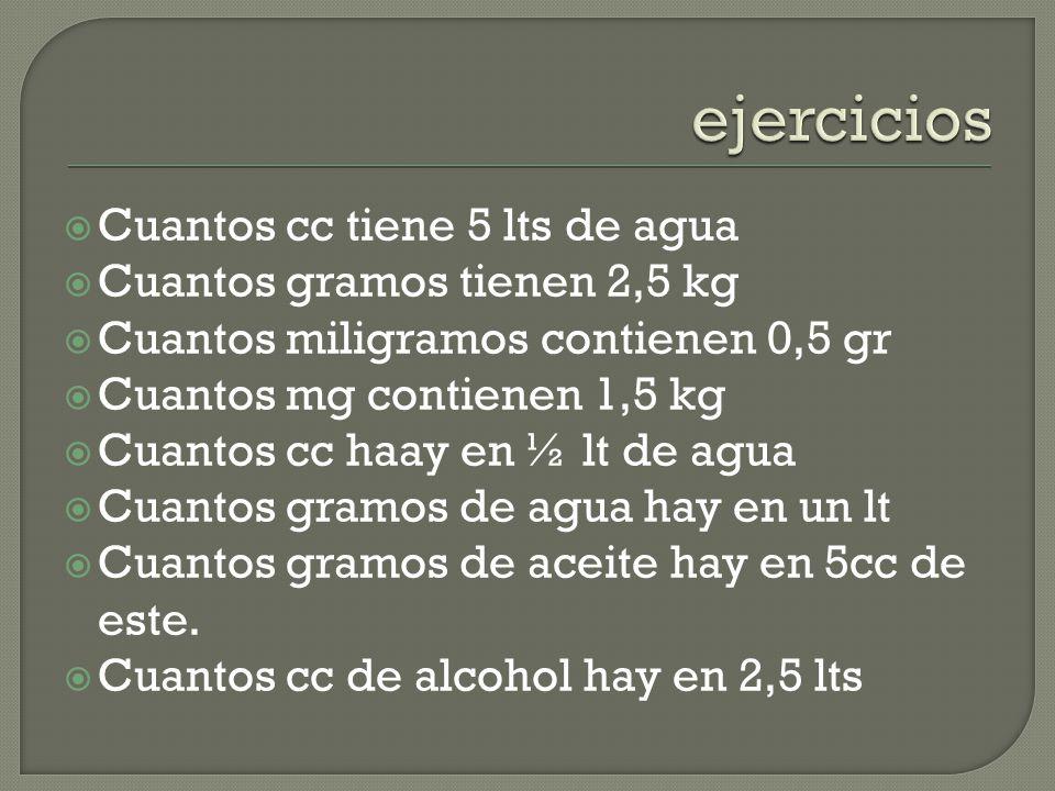 Cuantos cc tiene 5 lts de agua Cuantos gramos tienen 2,5 kg Cuantos miligramos contienen 0,5 gr Cuantos mg contienen 1,5 kg Cuantos cc haay en ½ lt de