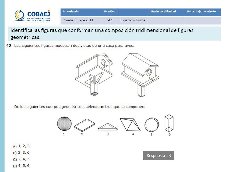 Respuesta : B ProcedenciaReactivoGrado de dificultadPorcentaje de acierto Prueba Enlace 201142Espacio y forma Identifica las figuras que conforman una