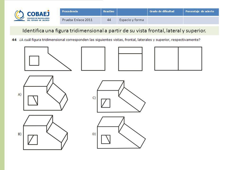 Respuesta: C ProcedenciaReactivoGrado de dificultadPorcentaje de acierto Prueba Enlace 201144Espacio y forma Identifica una figura tridimensional a pa