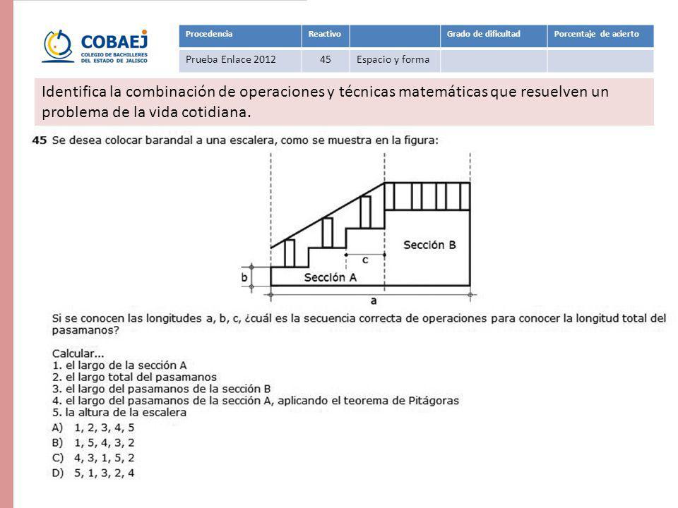 ProcedenciaReactivoGrado de dificultadPorcentaje de acierto Prueba Enlace 201245Espacio y forma Respuesta: B Identifica la combinación de operaciones