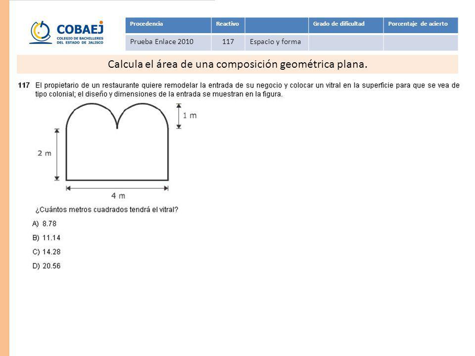 Respuesta: B ProcedenciaReactivoGrado de dificultadPorcentaje de acierto Prueba Enlace 2010117Espacio y forma Calcula el área de una composición geomé