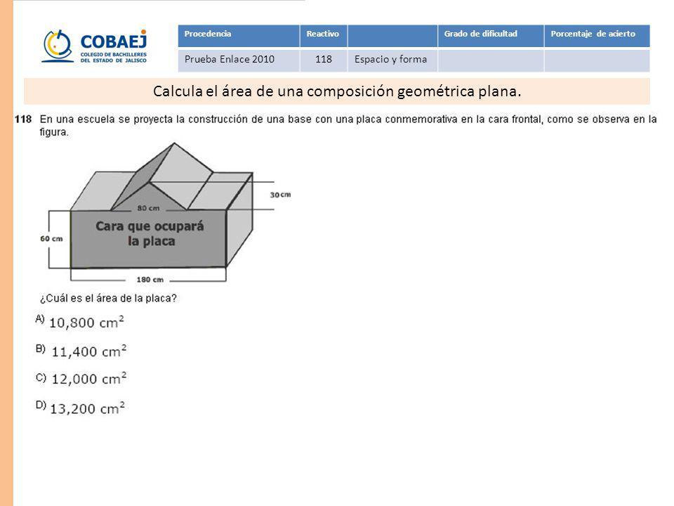 Respuesta: C ProcedenciaReactivoGrado de dificultadPorcentaje de acierto Prueba Enlace 2010118Espacio y forma Calcula el área de una composición geomé