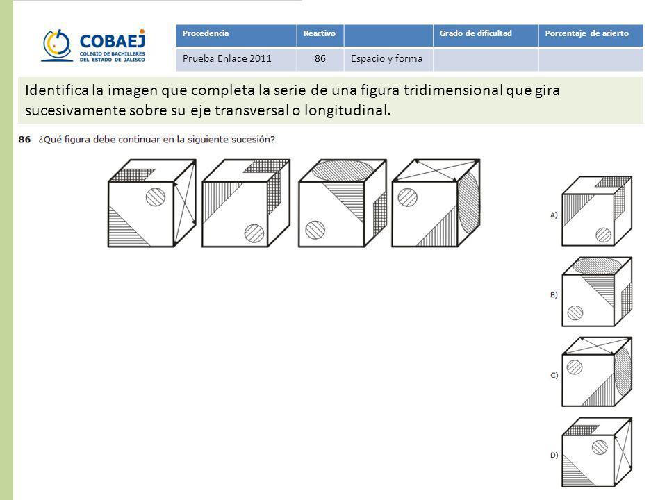 Respuesta: D ProcedenciaReactivoGrado de dificultadPorcentaje de acierto Prueba Enlace 201186Espacio y forma Identifica la imagen que completa la seri