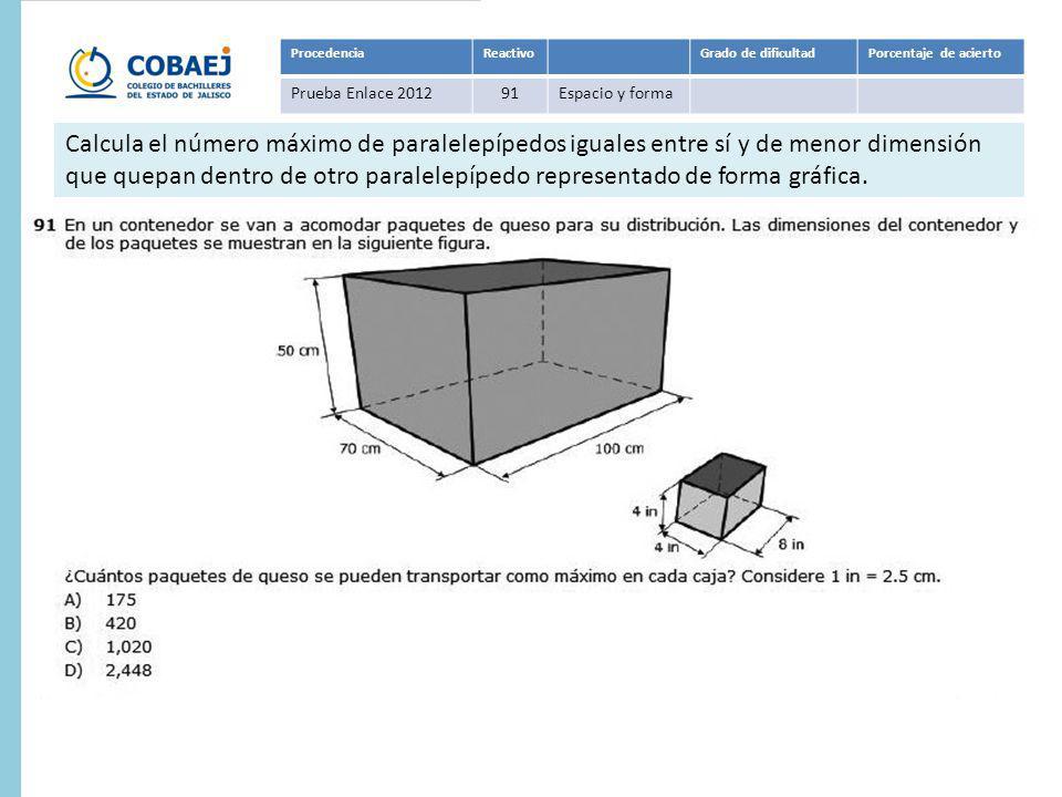 ProcedenciaReactivoGrado de dificultadPorcentaje de acierto Prueba Enlace 201291Espacio y forma Respuesta: A Calcula el número máximo de paralelepíped