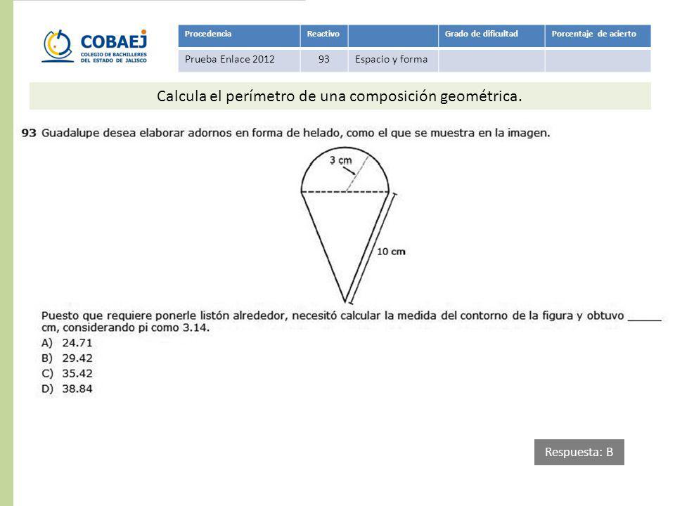 ProcedenciaReactivoGrado de dificultadPorcentaje de acierto Prueba Enlace 201293Espacio y forma Respuesta: B Calcula el perímetro de una composición g