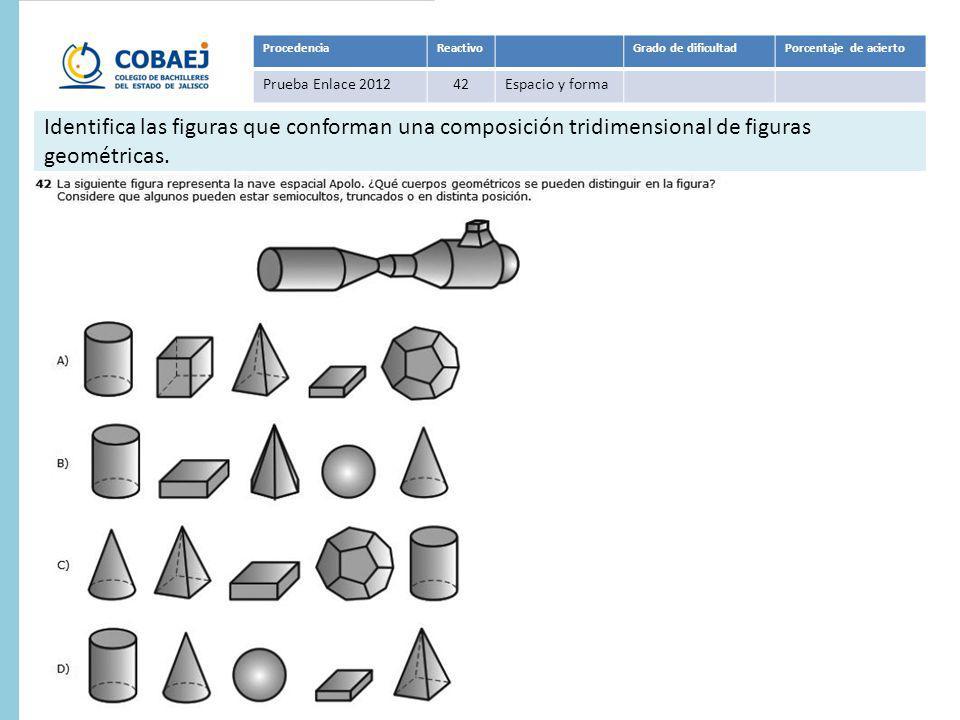 Respuesta : B ProcedenciaReactivoGrado de dificultadPorcentaje de acierto Prueba Enlace 201142Espacio y forma Identifica las figuras que conforman una composición tridimensional de figuras geométricas.