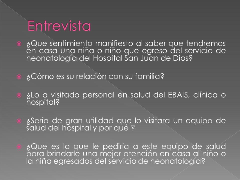¿Que sentimiento manifiesto al saber que tendremos en casa una niña o niño que egreso del servicio de neonatología del Hospital San Juan de Dios.