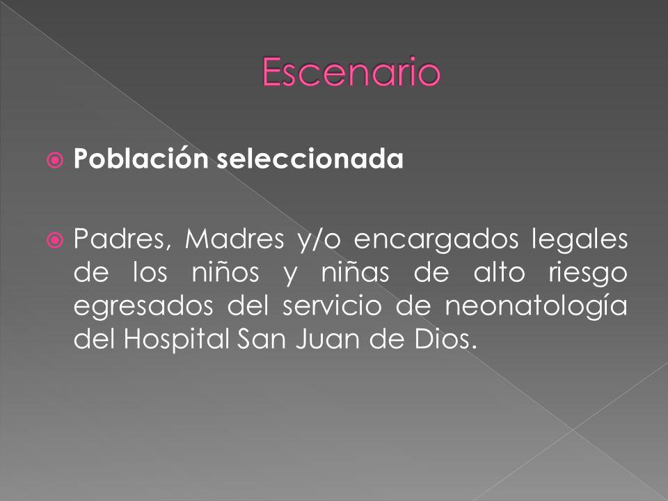 Población seleccionada Padres, Madres y/o encargados legales de los niños y niñas de alto riesgo egresados del servicio de neonatología del Hospital San Juan de Dios.