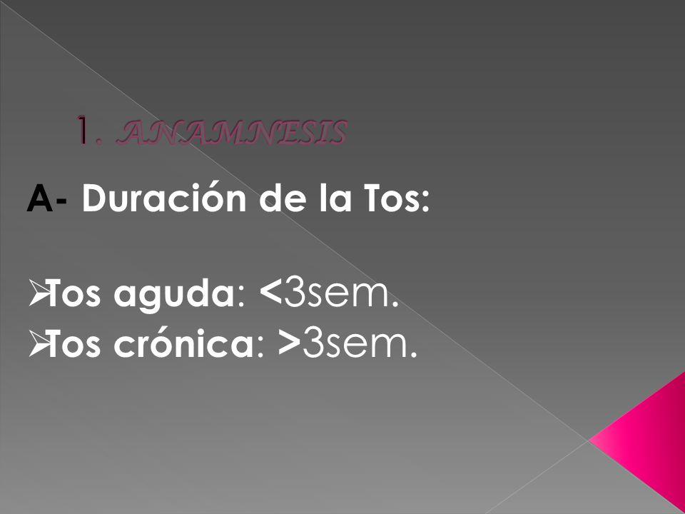A- Duración de la Tos: Tos aguda : < 3sem. Tos crónica : > 3sem.