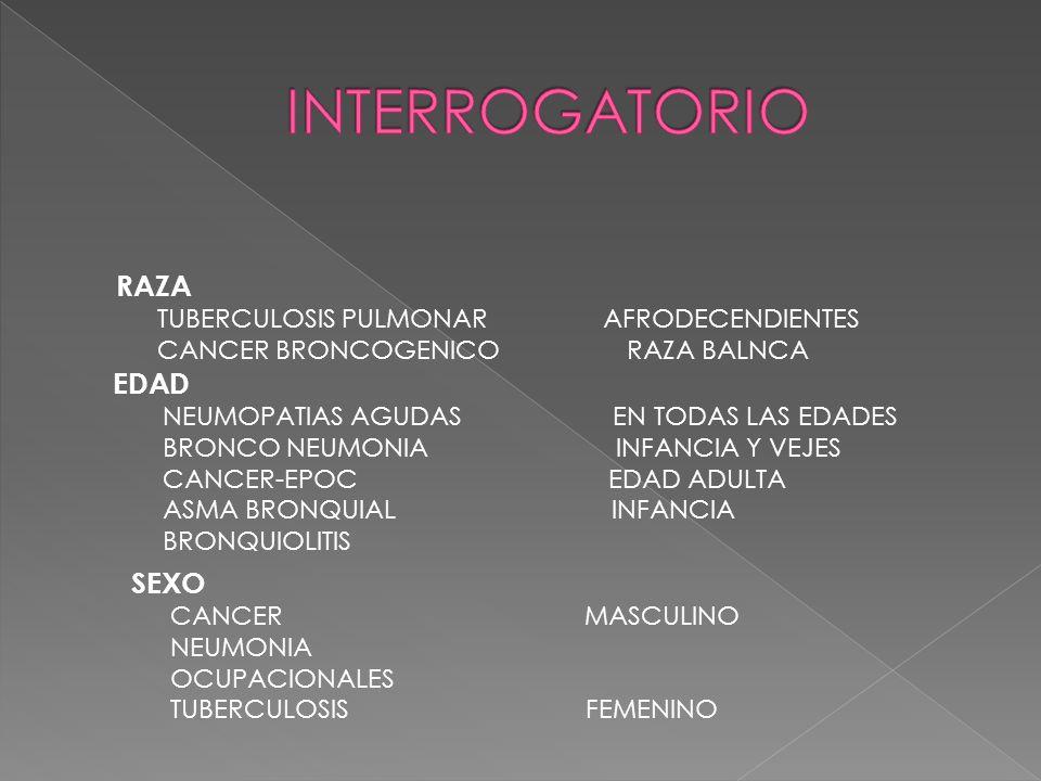 RAZA TUBERCULOSIS PULMONAR AFRODECENDIENTES CANCER BRONCOGENICO RAZA BALNCA EDAD NEUMOPATIAS AGUDAS EN TODAS LAS EDADES BRONCO NEUMONIA INFANCIA Y VEJES CANCER-EPOC EDAD ADULTA ASMA BRONQUIAL INFANCIA BRONQUIOLITIS SEXO CANCER MASCULINO NEUMONIA OCUPACIONALES TUBERCULOSIS FEMENINO