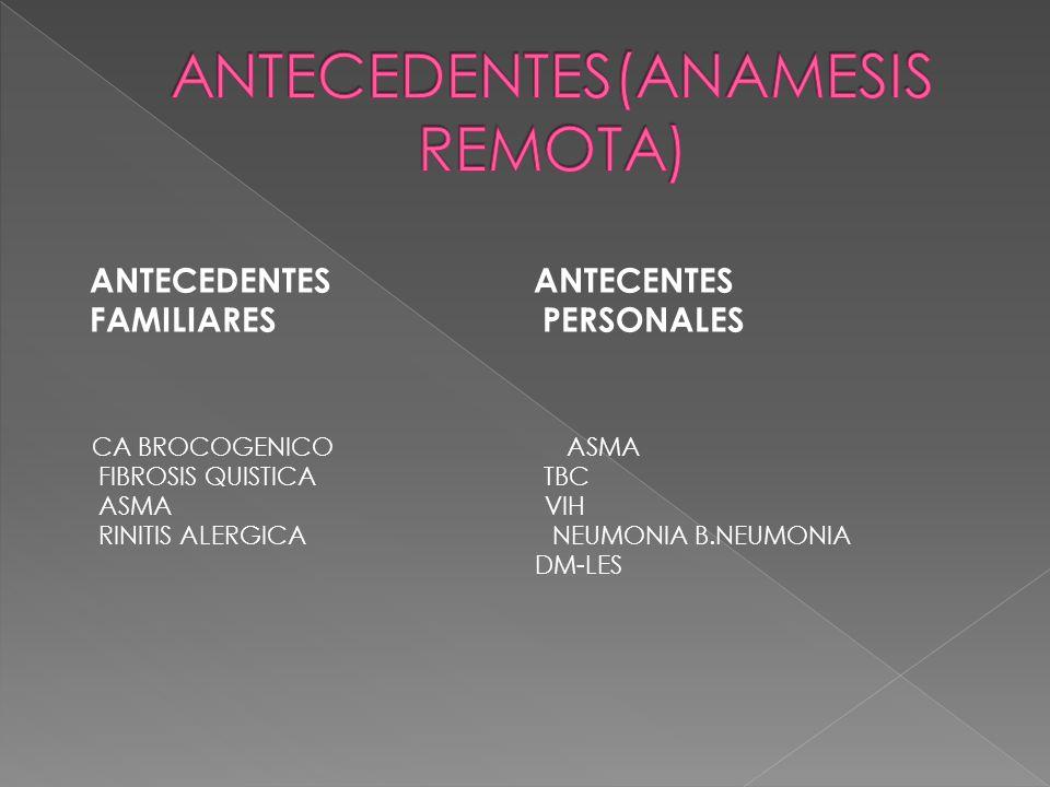ANTECEDENTES ANTECENTES FAMILIARES PERSONALES CA BROCOGENICO ASMA FIBROSIS QUISTICA TBC ASMA VIH RINITIS ALERGICA NEUMONIA B.NEUMONIA DM-LES