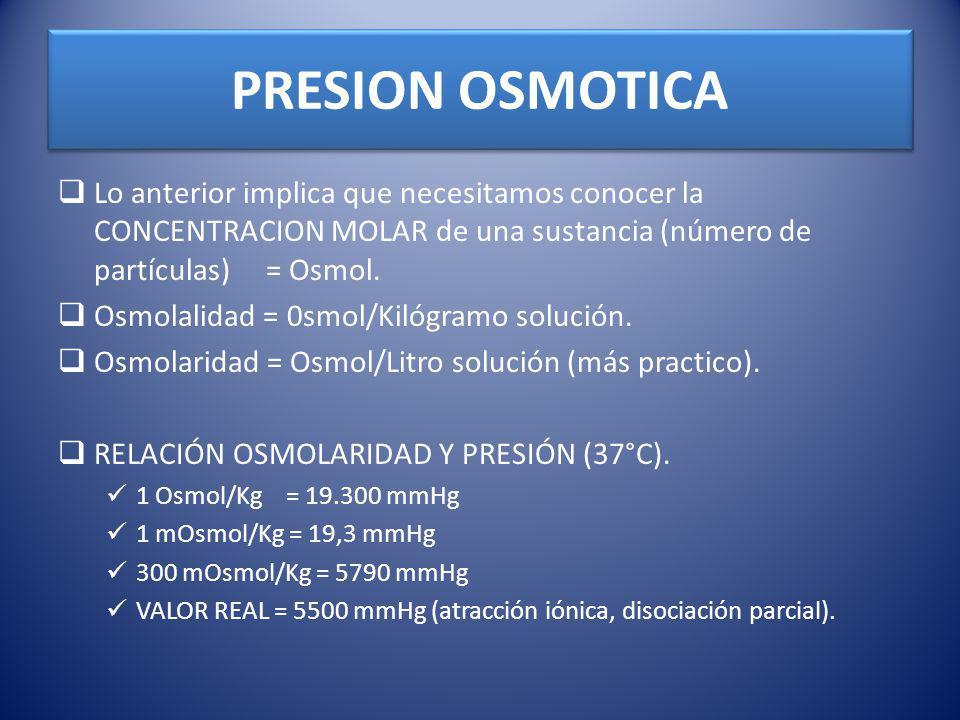 PRESION OSMOTICA Lo anterior implica que necesitamos conocer la CONCENTRACION MOLAR de una sustancia (número de partículas) = Osmol. Osmolalidad = 0sm