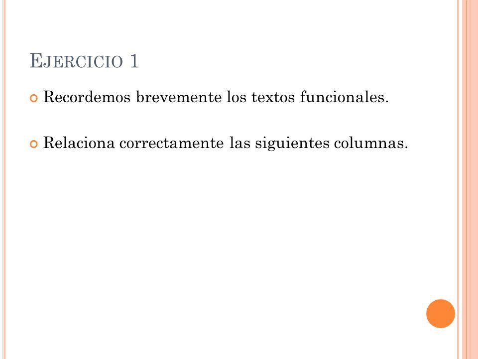E JERCICIO 1 Recordemos brevemente los textos funcionales. Relaciona correctamente las siguientes columnas.