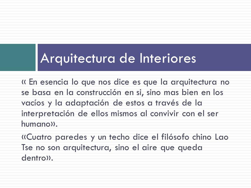 « En esencia lo que nos dice es que la arquitectura no se basa en la construcción en si, sino mas bien en los vacíos y la adaptación de estos a través de la interpretación de ellos mismos al convivir con el ser humano».
