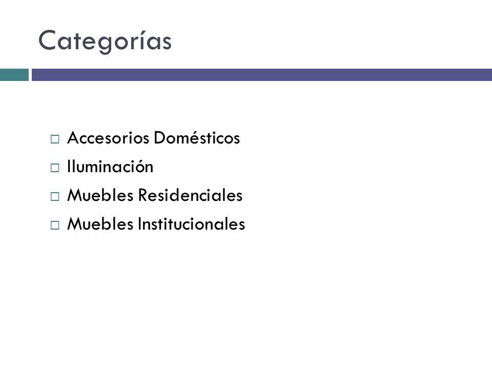 Categorías Accesorios Domésticos Iluminación Muebles Residenciales Muebles Institucionales