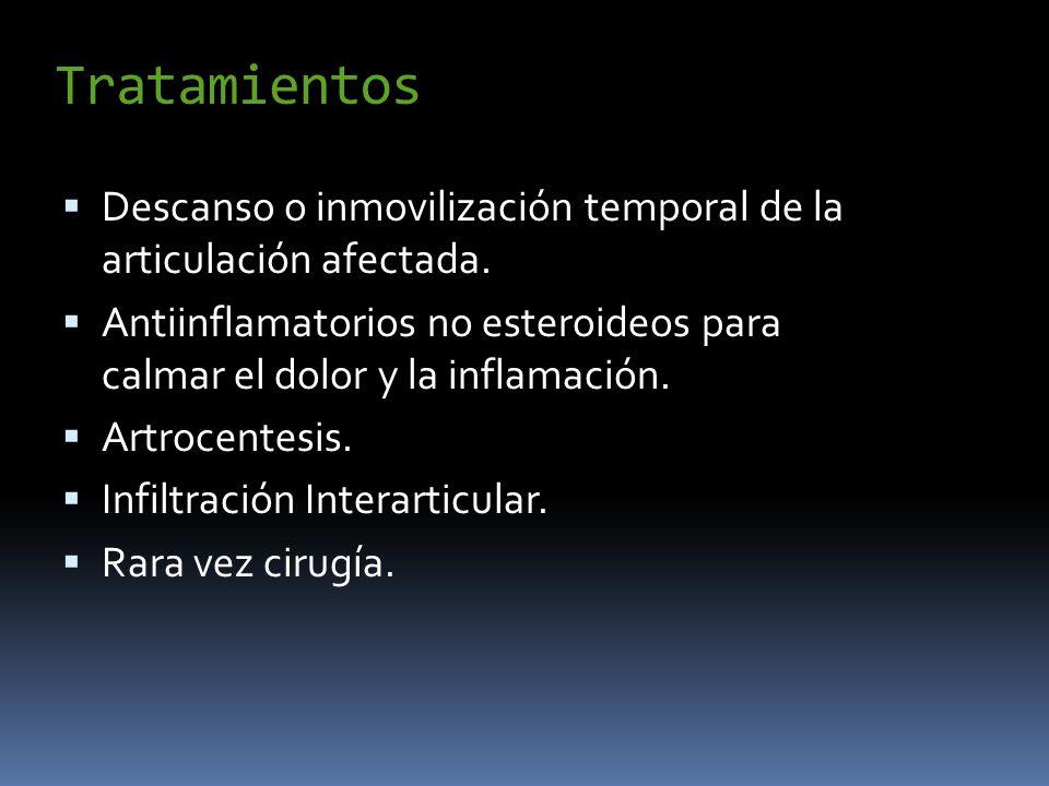 Tratamientos Descanso o inmovilización temporal de la articulación afectada. Antiinflamatorios no esteroideos para calmar el dolor y la inflamación. A
