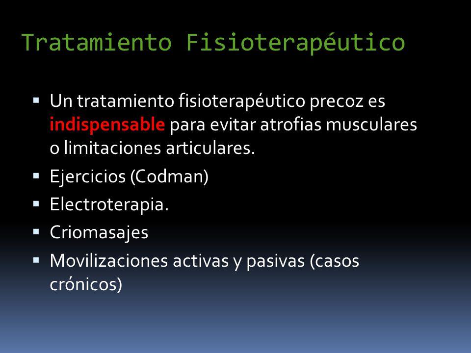 Tratamiento Fisioterapéutico Un tratamiento fisioterapéutico precoz es indispensable para evitar atrofias musculares o limitaciones articulares. Ejerc