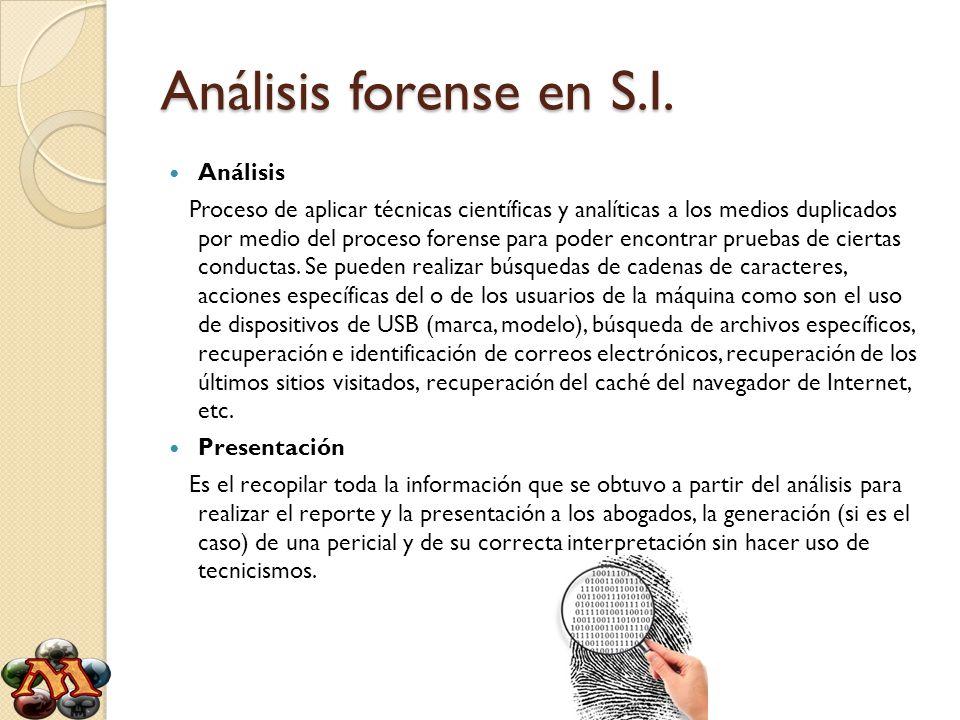 Análisis forense en S.I. Análisis Proceso de aplicar técnicas científicas y analíticas a los medios duplicados por medio del proceso forense para pode