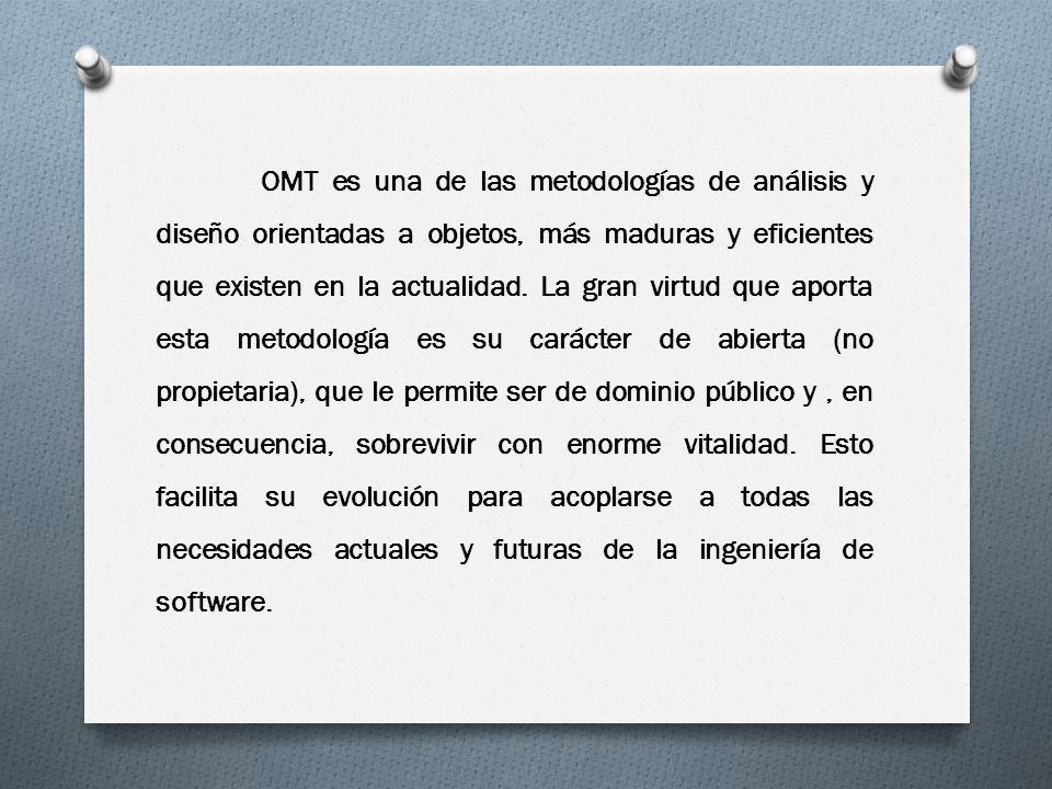 OMT es una de las metodologías de análisis y diseño orientadas a objetos, más maduras y eficientes que existen en la actualidad. La gran virtud que ap
