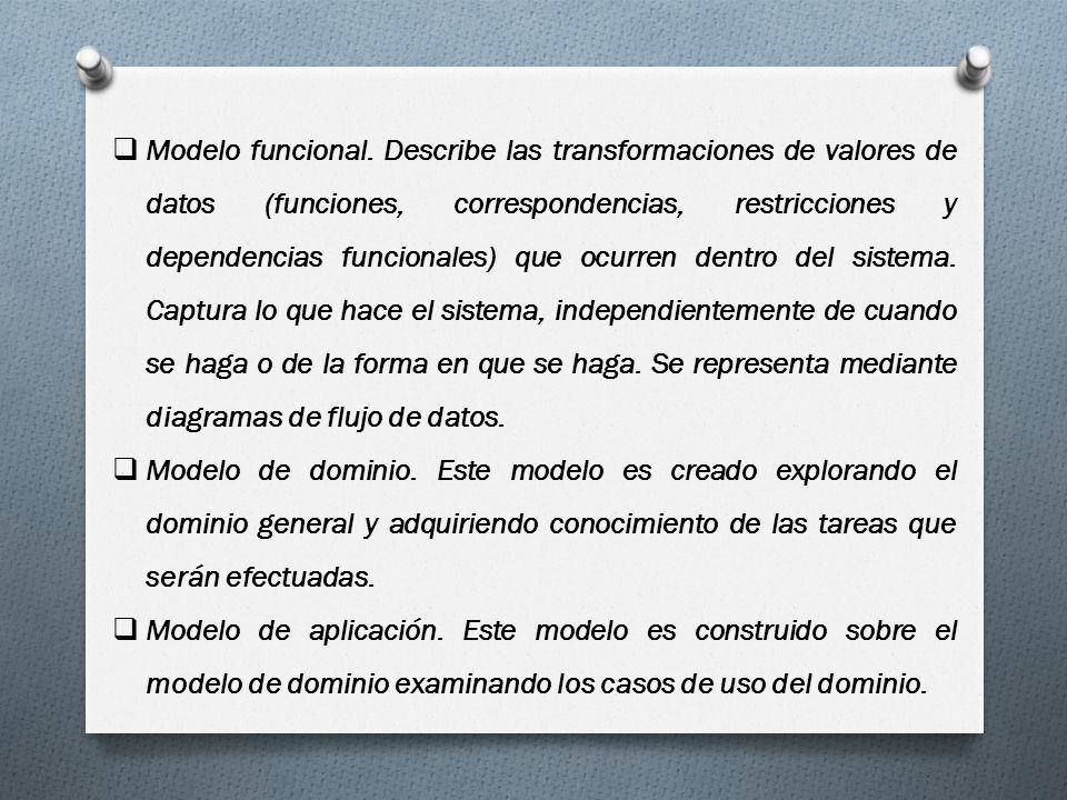 Modelo funcional. Describe las transformaciones de valores de datos (funciones, correspondencias, restricciones y dependencias funcionales) que ocurre