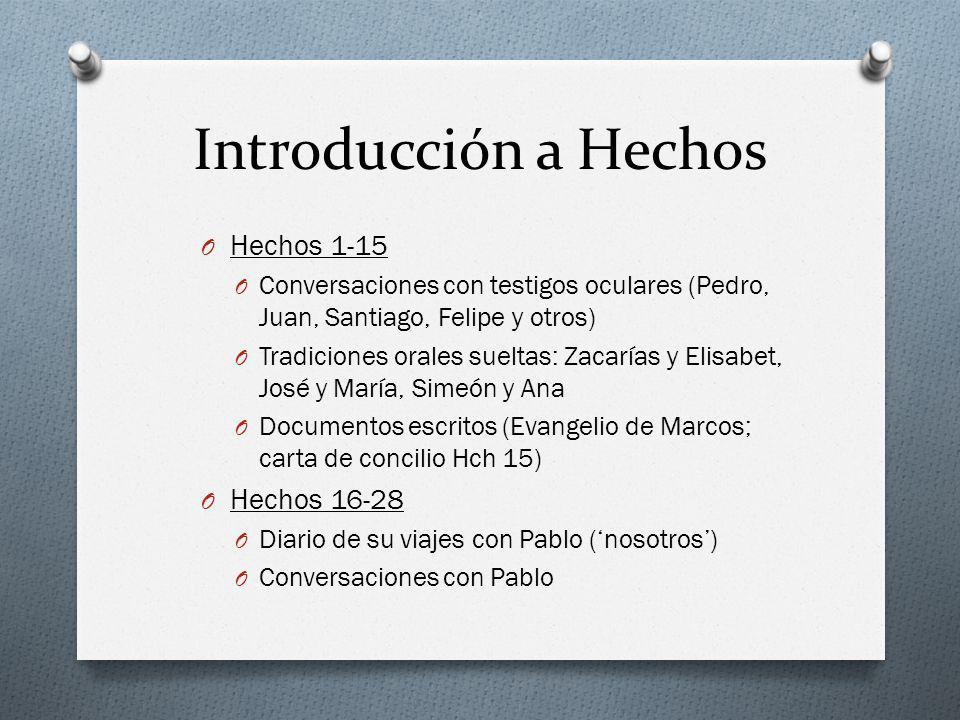 Introducción a Hechos O Hechos 1-15 O Conversaciones con testigos oculares (Pedro, Juan, Santiago, Felipe y otros) O Tradiciones orales sueltas: Zacar