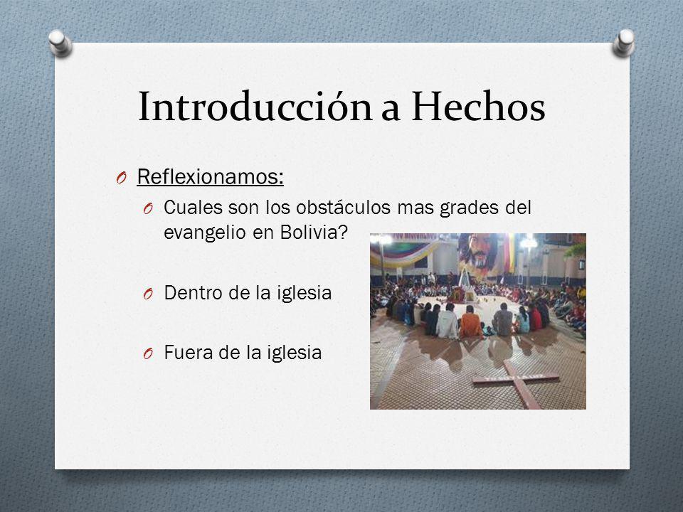 Introducción a Hechos O Reflexionamos: O Cuales son los obstáculos mas grades del evangelio en Bolivia? O Dentro de la iglesia O Fuera de la iglesia