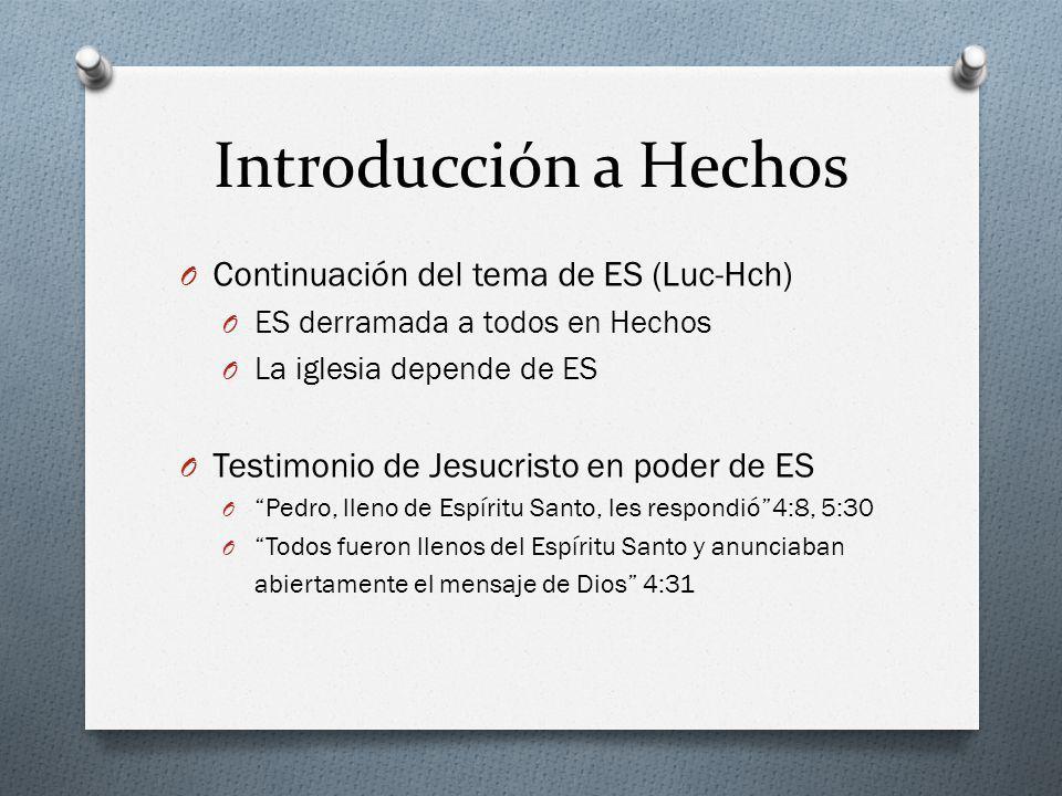 Introducción a Hechos O Continuación del tema de ES (Luc-Hch) O ES derramada a todos en Hechos O La iglesia depende de ES O Testimonio de Jesucristo e