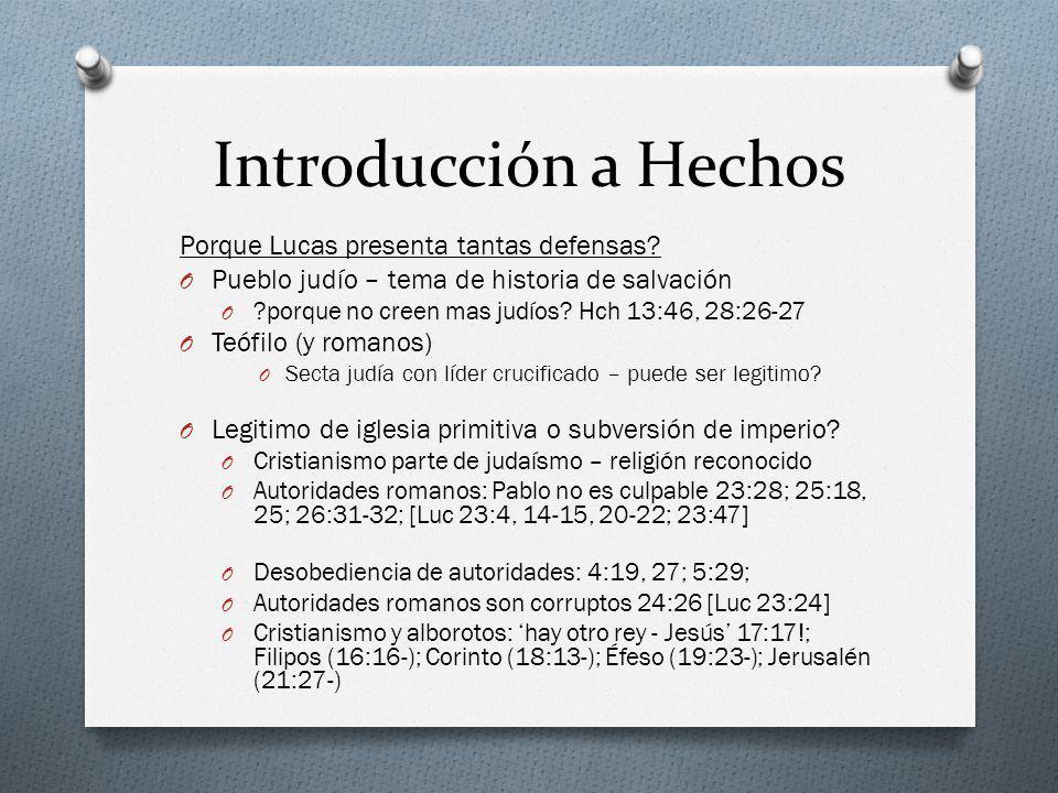 Introducción a Hechos Porque Lucas presenta tantas defensas? O Pueblo judío – tema de historia de salvación O ?porque no creen mas judíos? Hch 13:46,