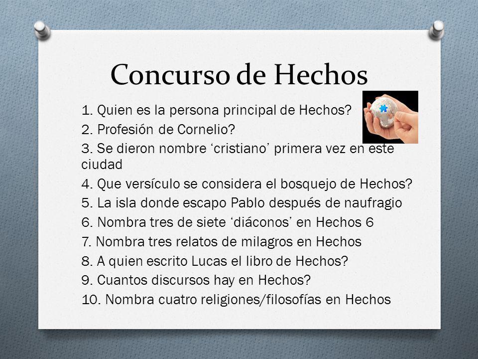 Concurso de Hechos 1. Quien es la persona principal de Hechos? 2. Profesión de Cornelio? 3. Se dieron nombre cristiano primera vez en este ciudad 4. Q