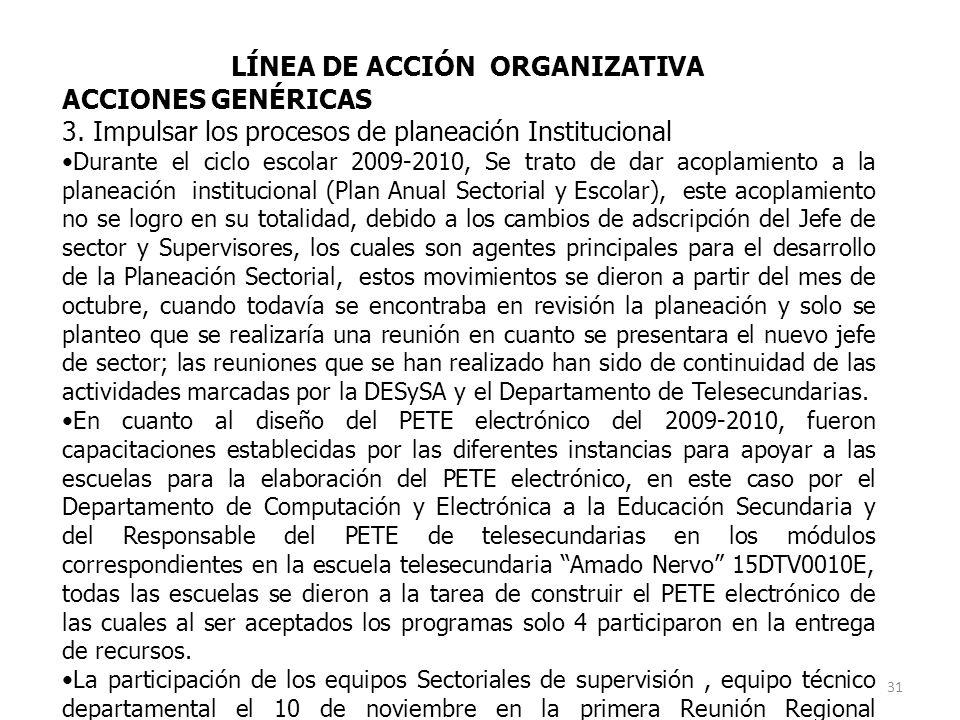 LÍNEA DE ACCIÓN ORGANIZATIVA ACCIONES GENÉRICAS 3.
