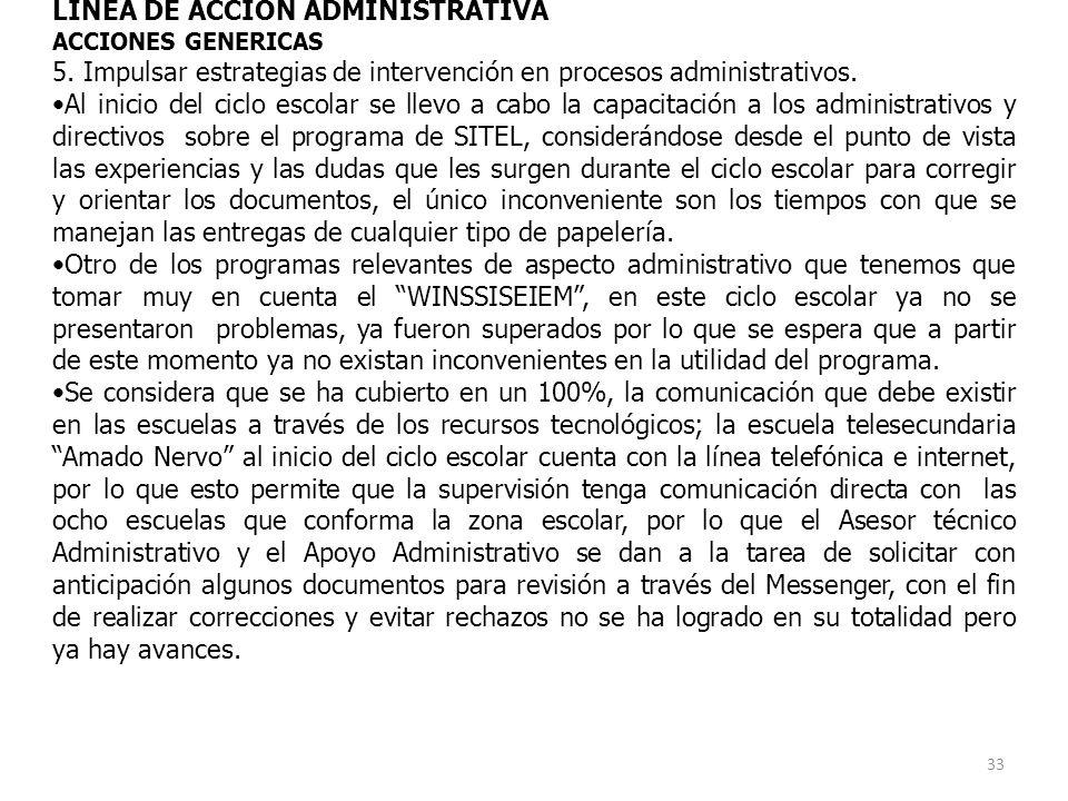 LINEA DE ACCION ADMINISTRATIVA ACCIONES GENERICAS 5.