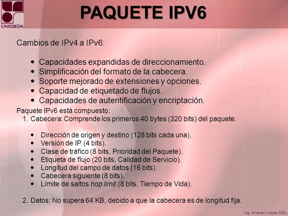 Ing. Anaylen López, MSc. TENDENCIAS CONDUCTORAS DE LA NECESIDAD DE IPv6 Creciente movilidad de los usuarios de Internet. Necesidad de mas de 1 IP por
