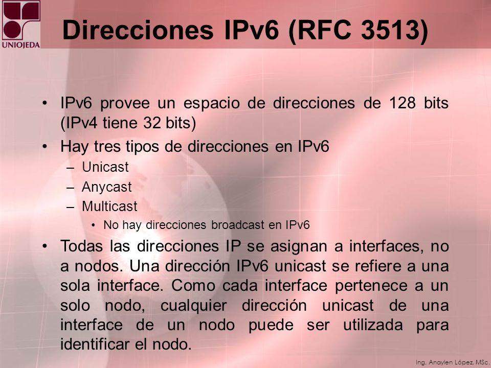 Ing. Anaylen López, MSc. IPv6 Extension Headers En IPv6, la información opcional es codificada en cabeceras diferentes que pueden ser colocadas entre