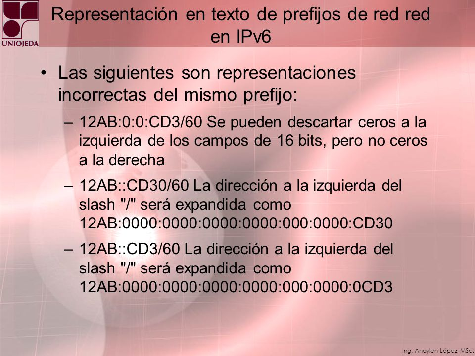 Ing. Anaylen López, MSc. Representación en texto de prefijos de red en IPv6 Por ejemplo: para representar el prefijo (hexadecimal) 12AB00000000CD3 de