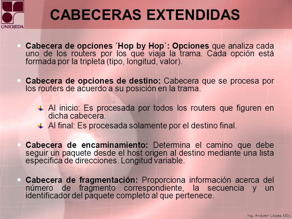Ing. Anaylen López, MSc. CABECERA PRINCIPAL IPv6 Version: Tipo de IP utilizada en 4 bits. Traffic Class: Tipo de tráfico (asignación de prioridades al