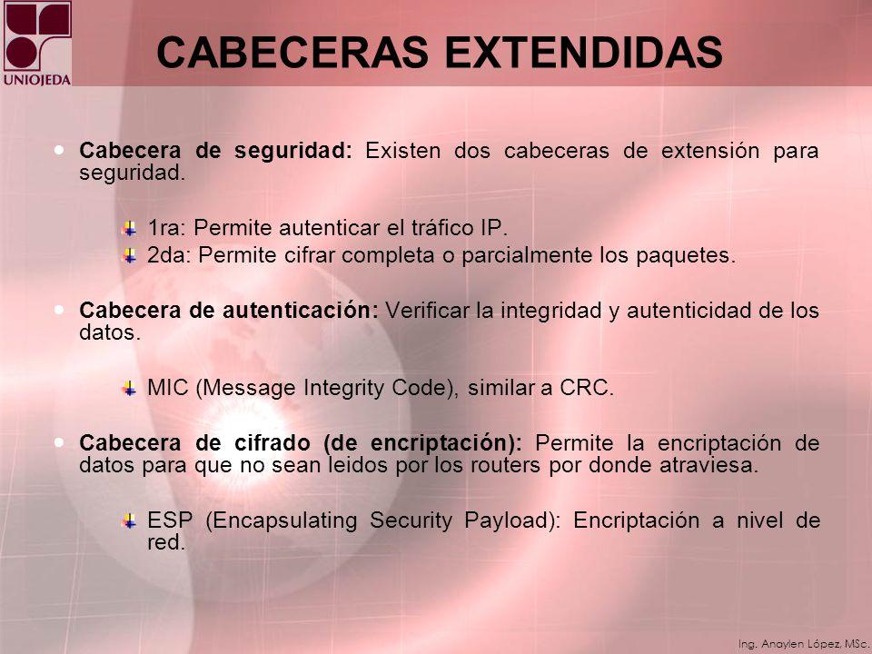 Ing. Anaylen López, MSc. CABECERAS EXTENDIDAS Cabecera de opciones ´Hop by Hop`: Opciones que analiza cada uno de los routers por los que viaja la tra