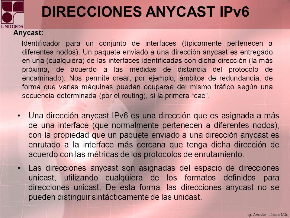 Ing. Anaylen López, MSc. DIRECCIÓN EN IPv6 Un paquete enviado a una dirección multicast es entregado a todas las interfaces identificadas por dicha di