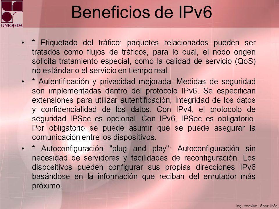 Ing. Anaylen López, MSc. Beneficios de IPv6 * Espacio de direcciones ampliado: IPv6 incrementa el espacio de direcciones de 128 bits, contra 32 bits d