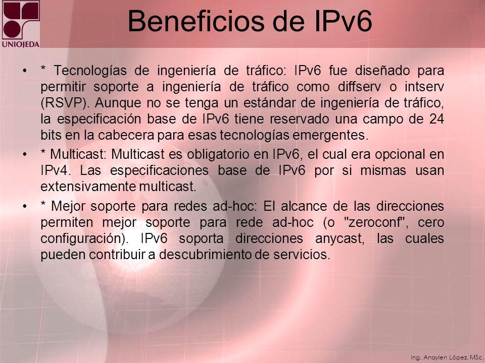 Ing. Anaylen López, MSc. Beneficios de IPv6 * Mecanismos de movilidad más eficientes y robustos: IP móvil soporta dispositivos móviles que cambian din