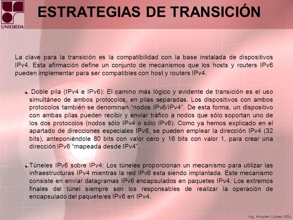 Ing. Anaylen López, MSc. Beneficios de IPv6 * Tecnologías de ingeniería de tráfico: IPv6 fue diseñado para permitir soporte a ingeniería de tráfico co