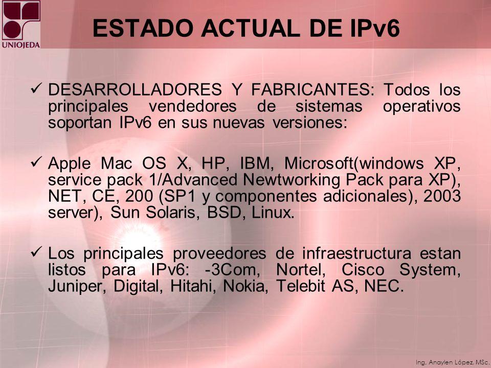 Ing. Anaylen López, MSc. ESTRATEGIAS DE TRANSICIÓN La clave para la transición es la compatibilidad con la base instalada de dispositivos IPv4. Esta a