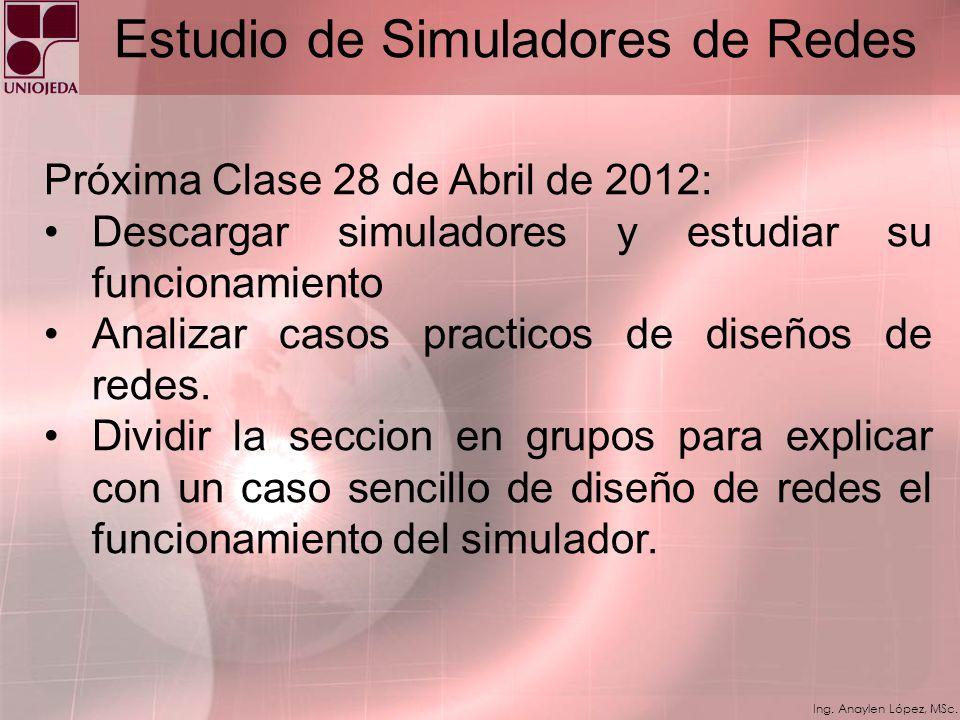 Ing. Anaylen López, MSc. Estudio de Simuladores de Redes Gns3