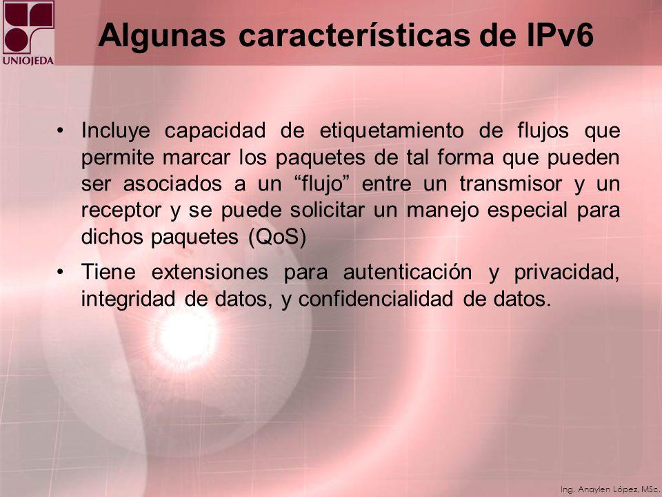 Ing. Anaylen López, MSc. Algunas características de IPv6 Se creó un nuevo tipo de dirección llamada Anycast utilizada para enviar un paquete a algún n