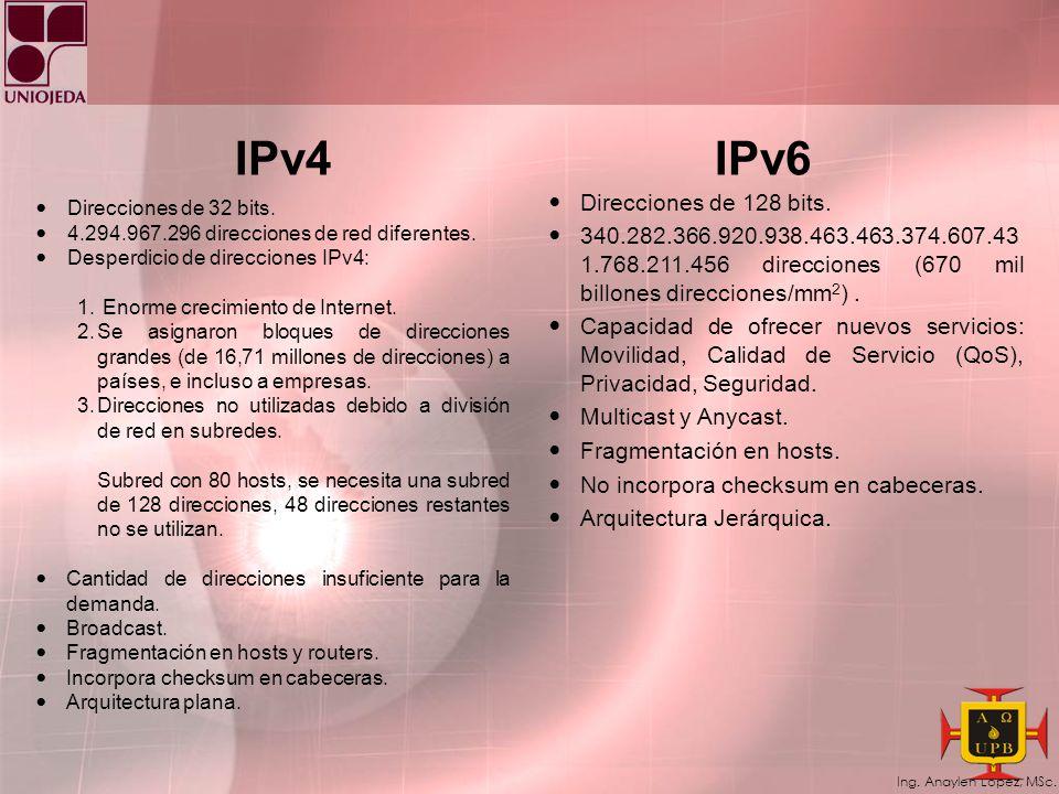 Ing. Anaylen López, MSc. Algunas características de IPv6 Incluye capacidad de etiquetamiento de flujos que permite marcar los paquetes de tal forma qu