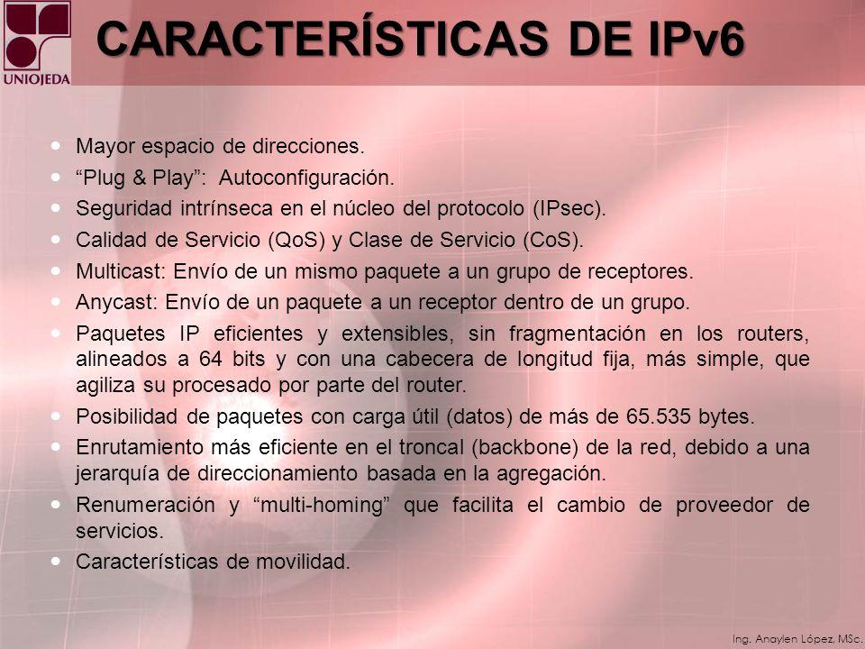 Ing. Anaylen López, MSc. IPv4IPv6 Direcciones de 32 bits. 4.294.967.296 direcciones de red diferentes. Desperdicio de direcciones IPv4: 1. Enorme crec