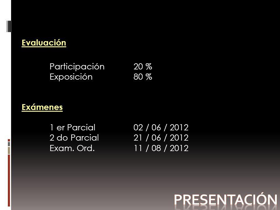 Evaluación Participación 20 % Exposición80 % Exámenes 1 er Parcial 02 / 06 / 2012 2 do Parcial 21 / 06 / 2012 Exam.