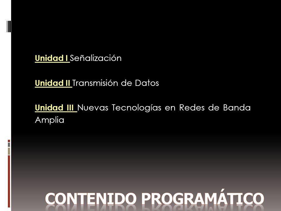 Unidad I Señalización Unidad II Transmisión de Datos Unidad III Nuevas Tecnologías en Redes de Banda Amplia