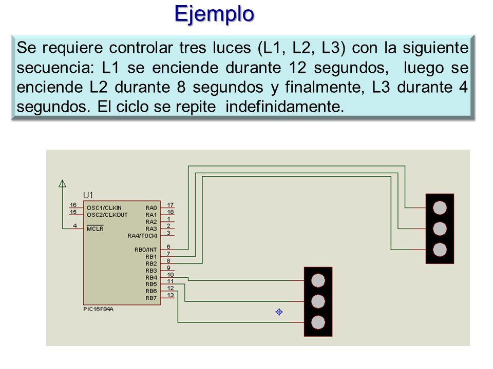 Ejemplo Se requiere controlar tres luces (L1, L2, L3) con la siguiente secuencia: L1 se enciende durante 12 segundos, luego se enciende L2 durante 8 s