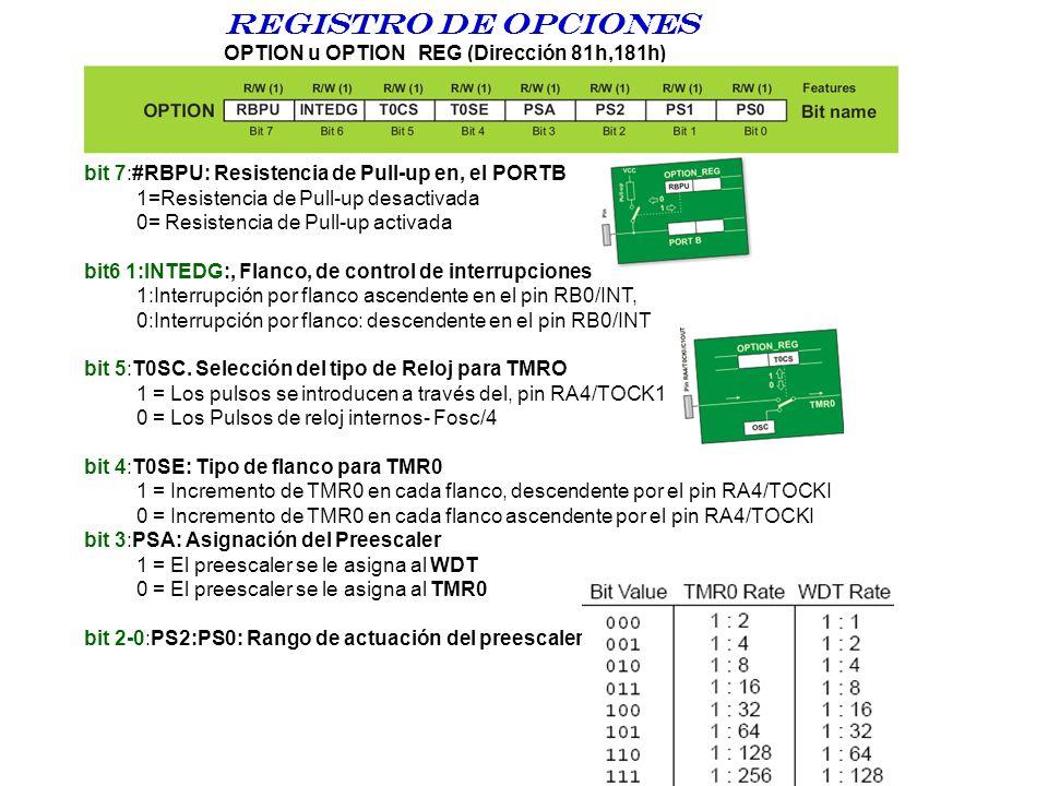 Registro DE opciones OPTION u OPTION_REG (Dirección 81h,181h) bit 7:#RBPU: Resistencia de Pull-up en, el PORTB 1=Resistencia de Pull-up desactivada 0=