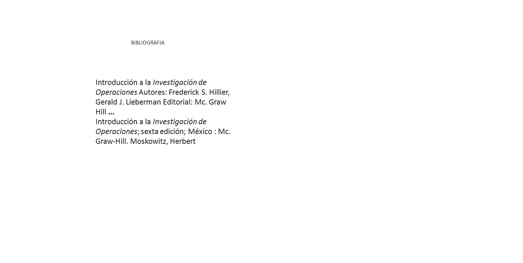 BIBLIOGRAFIA Introducción a la Investigación de Operaciones Autores: Frederick S.